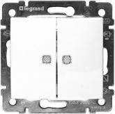 Legrand 774428, Valena Выключатель двухклавишный с подсветкой, белый